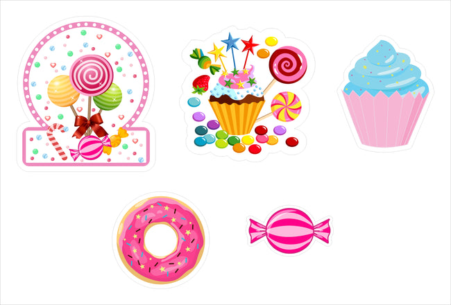Candy Land Cut Out Pack for birthday decoration - Pack of 5