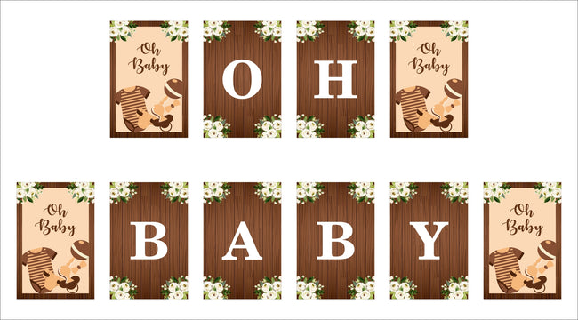 """Oh Baby"" Banner for baby shower decoration"