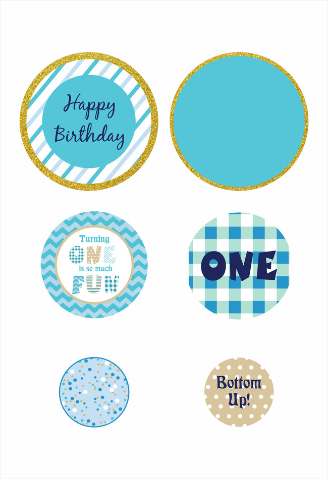 """ONE IS FUN""  -BOYS BIRTHDAY GIANT CIRCLE CONFETTI  - LARGE CONFETTI (Pack of 27)"
