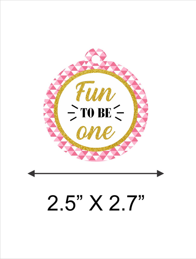 """ONE IS FUN ""-GIRLS PARTY FAVOR GIFT TAGS (PACK OF 20)"
