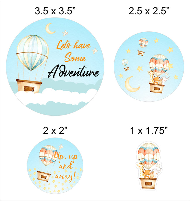 Up Up And Away - Hot Air straw Set -Birthday Decoration or Baby Welcome - Set of 24