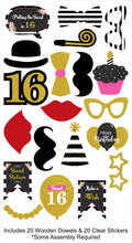 16th Milestone - 20 Piece Birthday Party Photo Booth Props Kit