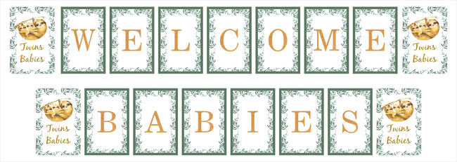 """Twins Baby"" Banner for Welcome Babies Decoration"