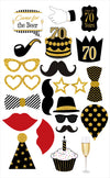 70th Milestone - 20 Piece Birthday Party Photo Booth Props Kit