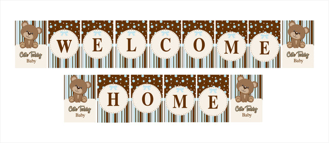 """Welcome Home ""- Baby Boy Cute Teddy  Banner Decoration"