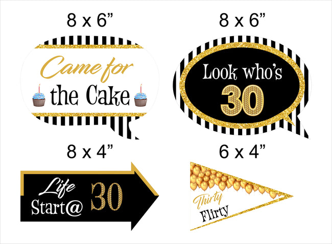30th Milestone - 10 Piece Birthday Party Photo Booth Props Kit