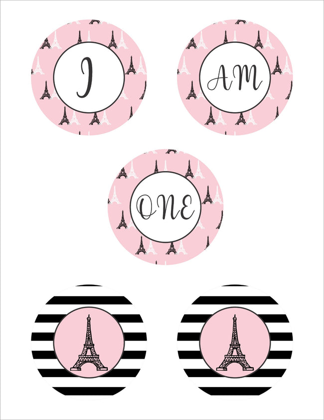 "Oh La La - It's Paris -""I AM ONE"" BANNER FOR 1ST BIRTHDAY GIRL DECORATION"