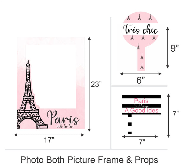 """Oh La La - It's Paris"" Birthday Party Selfie Photo Booth Picture Frame and Props - Printed on Sturdy Material"