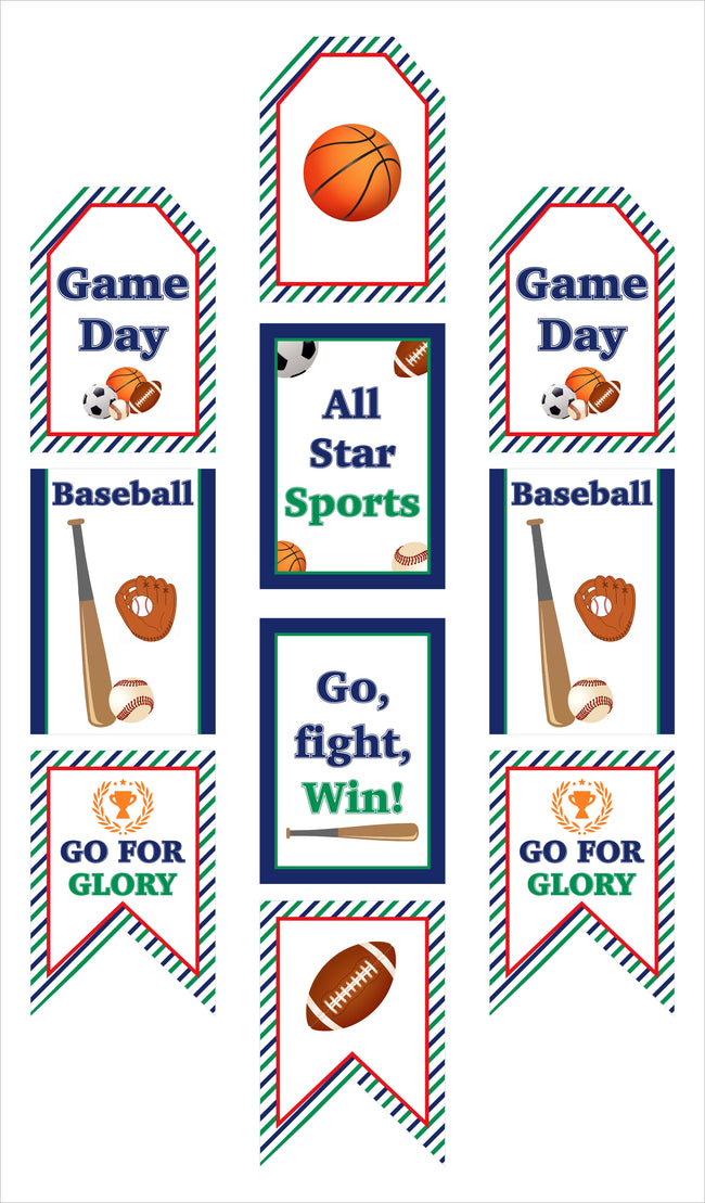 Only Sports  - Hanging Vertical Paper Door Banners - Birthday Party Wall Decoration Kit - Indoor Door Decor