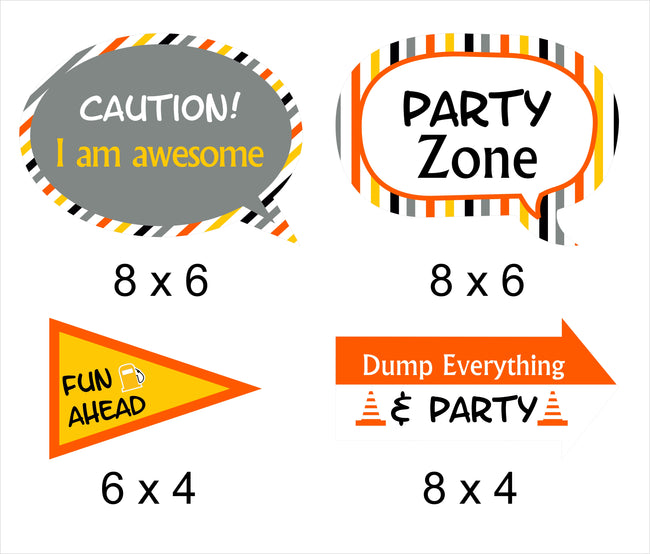 Construction  - 10 Piece Birthday Party Photo Booth Props Kit