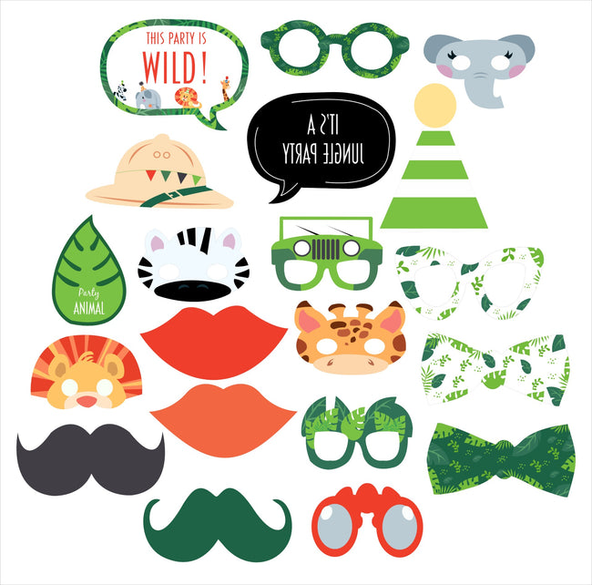 Wild Safari - 20 Piece Birthday Party Photo Booth Props Kit