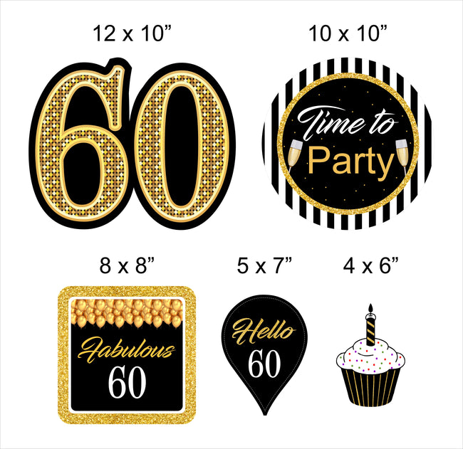 60th Milestone Theme Hanging Set for decoration - Set of 10