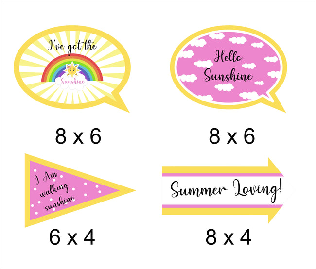 Sunshine Theme  Birthday Party Photo Booth Props Kit-Pack of 10