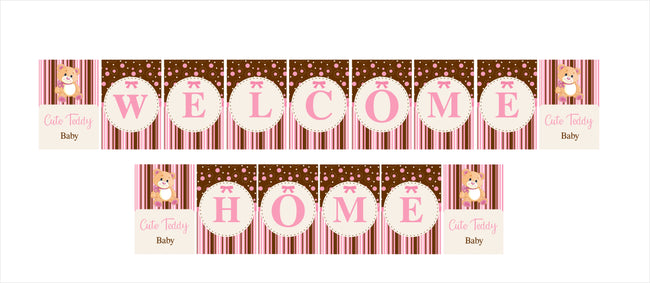 """Welcome Home ""-  Baby Girl Cute Teddy Banner"