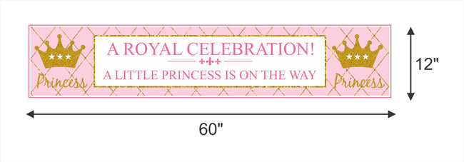 """CROWN PRINCESS""-GIRLS  LONG BANNER WALL DECORATION/CAKE AREA/ENTRANCE"