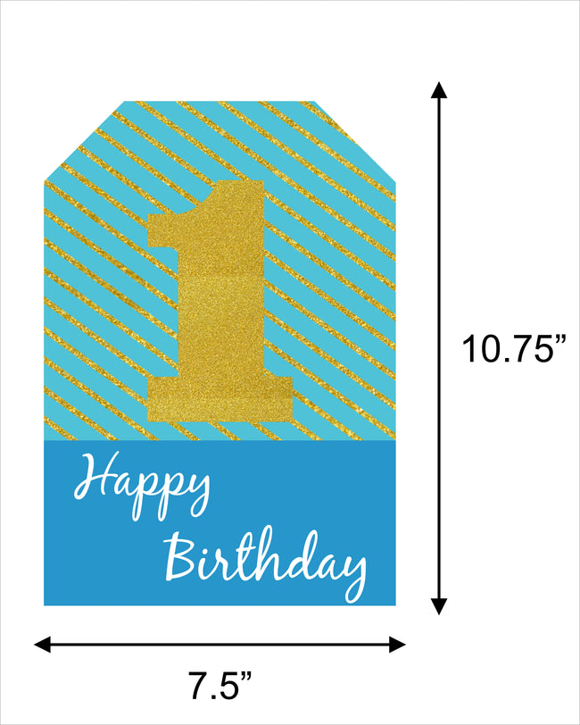 """ONE IS FUN "" Boys- Hanging Vertical Paper Door Banners - 1st Birthday Party Wall Decoration Kit"