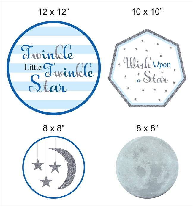 """Twinkle Twinkle Little Star"" - Boy   Theme Hanging Set for decoration - Set of 12"
