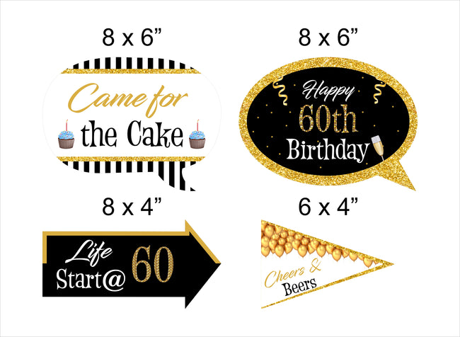 60th Milestone - 10 Piece Birthday Party Photo Booth Props Kit