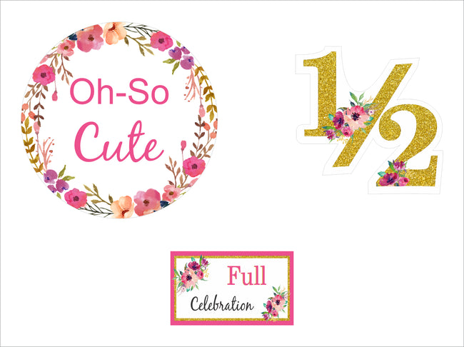 """1/2 Birthday"" - CUP CAKE TOPPER BIRTHDAY DECORATION (Pack of 12)"