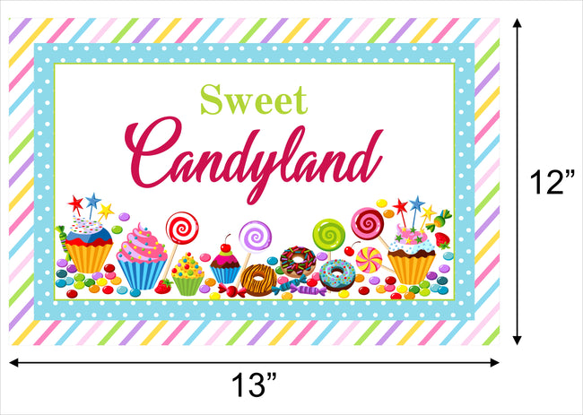 Candy Land Table Placemats for birthday, baby shower, theme parties - Pack of 6
