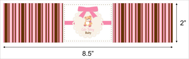 """Baby Girl Cute Teddy ""- Baby Welcome Water Bottle Sticker Labels - Set Of 10"