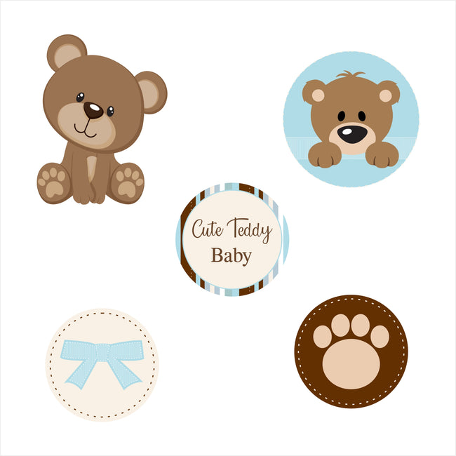 """Cute Teddy Welcome Baby Boy""  Cake Topper Welcome Baby - Pack of 24"