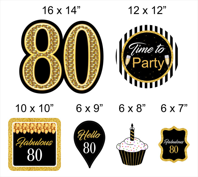 80th Milestone Cutout  Pack for Birthday decoration - Pack of 6