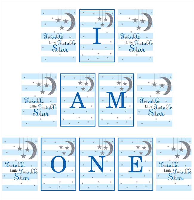 """Twinkle Twinkle Little Star"" - Boy Birthday Banner For Decoration - I Am One (Blue)"
