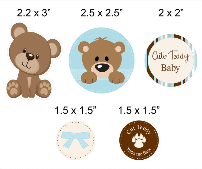 """Baby Boy Cute Teddy"" -  Straw Set Welcome Baby  Boy Decoration - Set of 25"