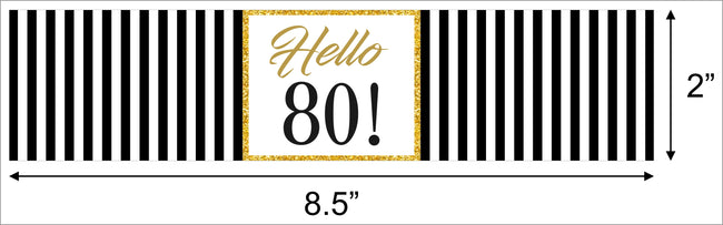 80th Birthday Party Water Bottle Sticker Labels ( Set of 10)