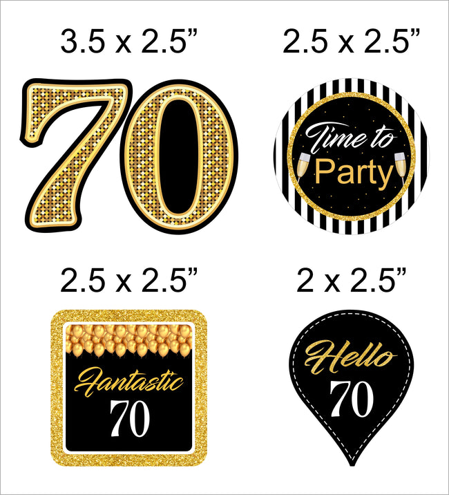 70th Milestone CUP CAKE TOPPER BIRTHDAY DECORATION (Pack of 12)