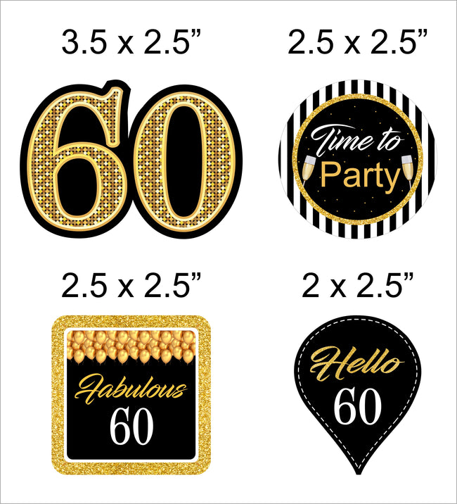 60th Milestone CUP CAKE TOPPER BIRTHDAY DECORATION (Pack of 12)