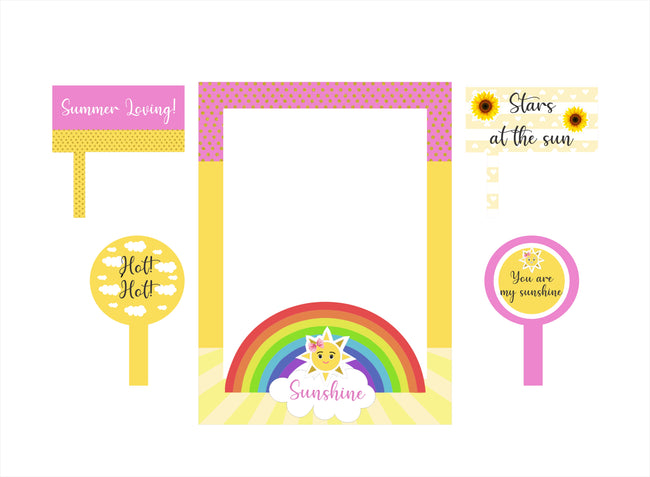 Sunshine Theme Party Selfie Photo Booth Picture Frame And Props - Printed On Sturdy Material