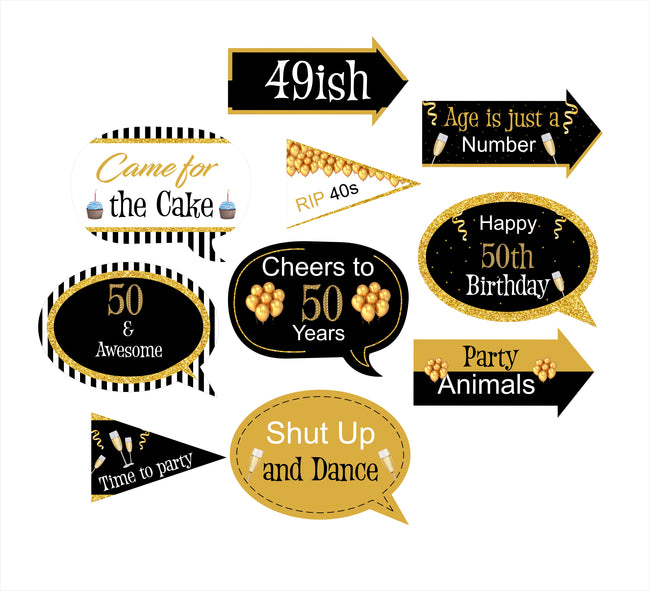 50th Milestone - 10 Piece Birthday Party Photo Booth Props Kit
