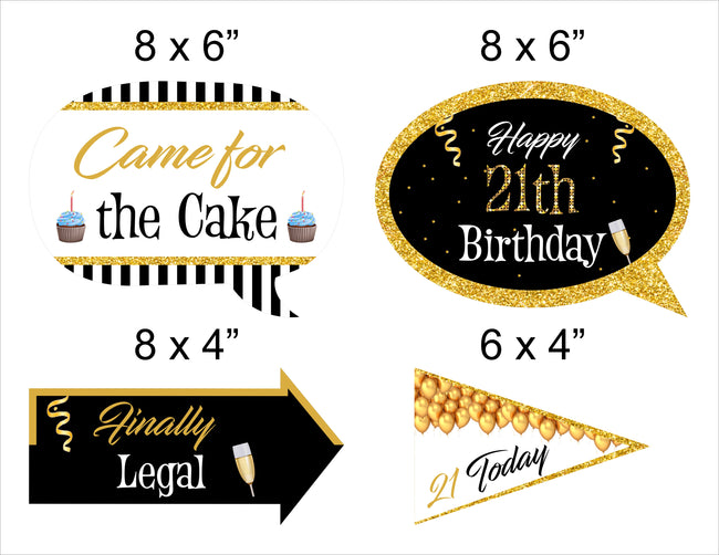 21st Milestone - 10 Piece Birthday Party Photo Booth Props Kit