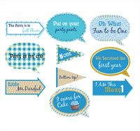 """""""Fun Is One """" - 10 Piece Birthday Party Photo Booth Props Kit"""