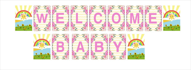 Sunshine Theme Banner for Welcome Baby decoration