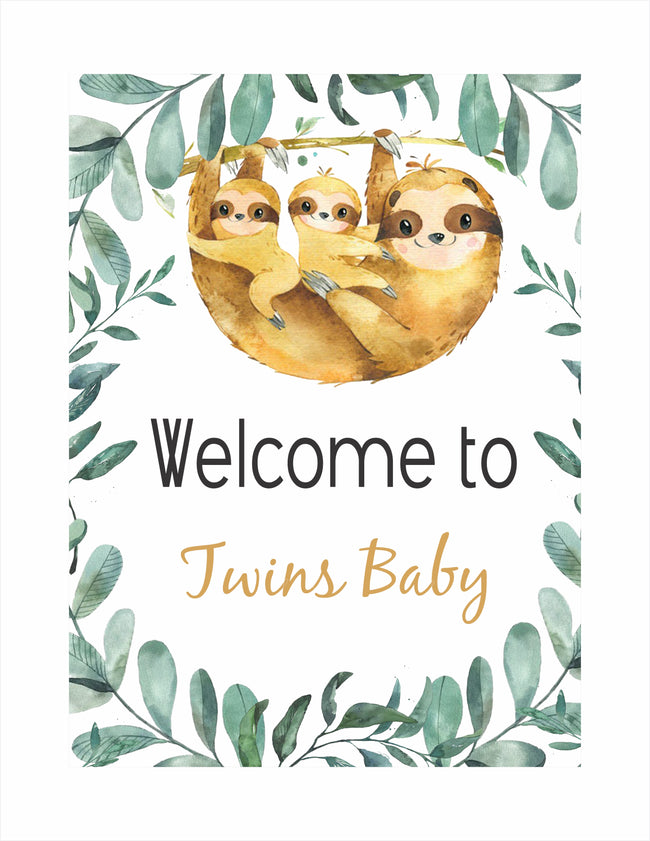Twins Baby - Welcome Sign - Baby Welcome or Birthday Party  - 1 Piece