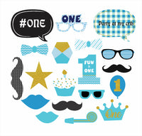 """""""One Is Fun """" Boys - 20 Piece Birthday Party Photo Booth Props Kit"""