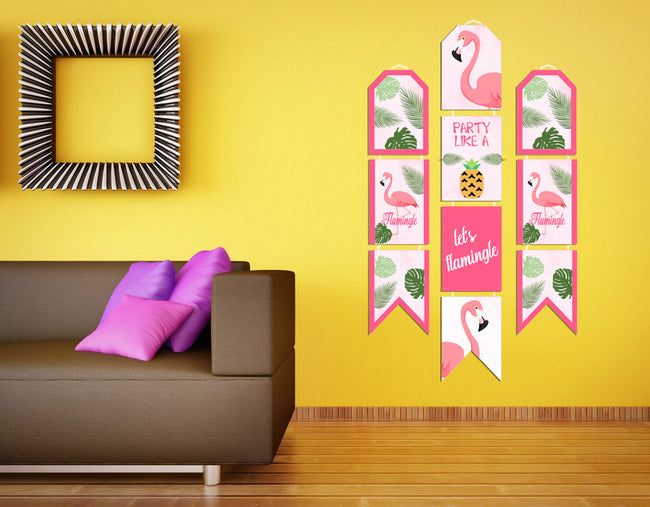 Let's Flamingle - Hanging Vertical Paper Door Banners - Birthday Party Wall Decoration Kit
