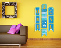 """""""One Is Fun """" Boys- Hanging Vertical Paper Door Banners - 1St Birthday Party Wall Decoration Kit"""