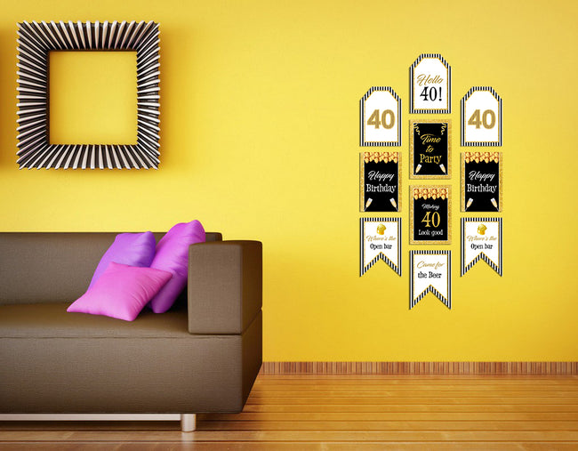 40th Birthday - Hanging Vertical Paper Door Banners - Birthday Party Wall Decoration Kit