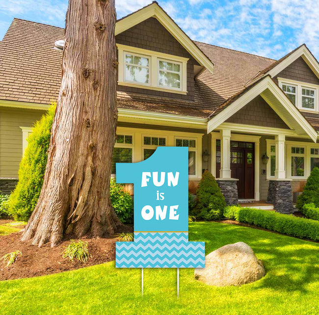"""ONE IS FUN"" -Boys Welcome Lawn Sign, Birthday Party  - 1 Piece"