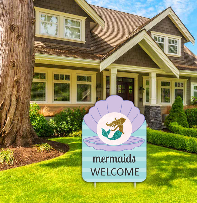 """LITTLE MERMAID""-GIRLS BIRTHDAY WELCOME LAWN SIGN (PACK OF 1)"
