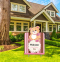 """Baby Girl Cute Teddy"" -  Welcome Sign - Baby Welcome Decoration - 1 Piece"