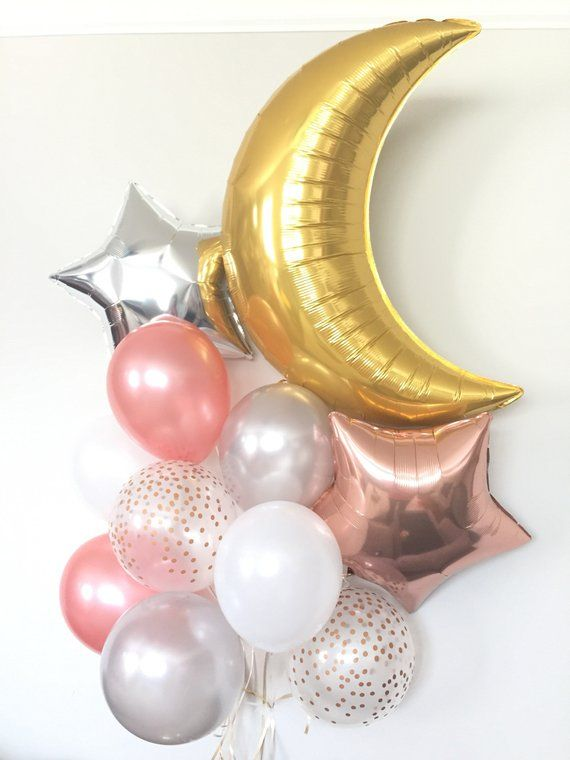18 inch Gold Moon Balloons, Moon Shaped Balloons ,Baby Shower /Baby Arrival Party Balloons