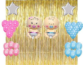 Gold Fringe Curtain ,  pink blue printed and polka balloons ,Star silver foil balloon decoration Combo-  Baby Shower Decorations