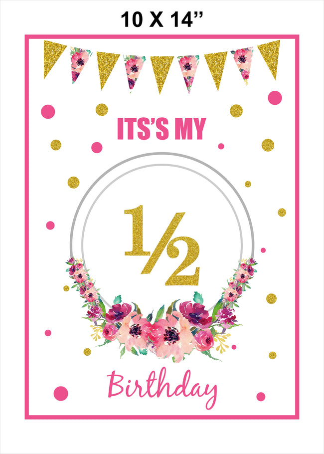 """1/2 Birthday "" Poster Decoration /Photo Prop"