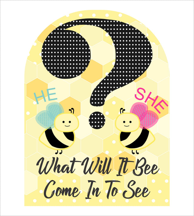 """What Will It Bee"" - Welcome Lawn Sign - Baby Shower Welcome Cut Out - 1 Piece"