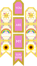 """You Are My Sunshine"" - Hanging Vertical Paper Door Banners - Birthday Party /Baby Welcome Wall Decoration Kit"